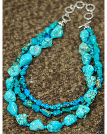 Isac West Three Strand Multi-Tone Turquoise Necklace, , hi-res