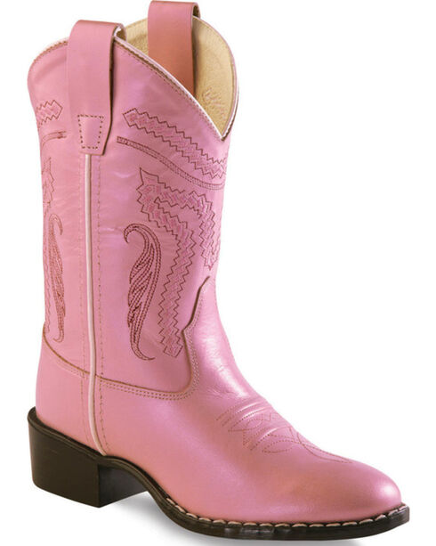 Old West Girl Childrens' Pink Western Boots - Round Toe , Pink, hi-res