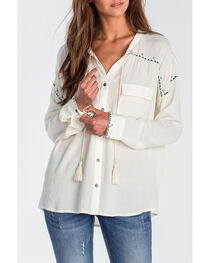 Miss Me Women's Ivory High-Low Embroidered Long Sleeve Blouse, , hi-res