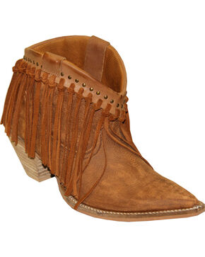 Abilene Women's Brown Fringe Booties - Pointed Toe , Tan, hi-res