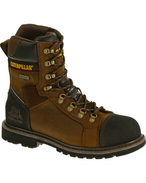 "Caterpillar Tracklayer 8"" Work Boots - Steel Toe, Dark Brown, hi-res"