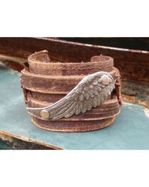 Jewelry Junkie Copper Wing Distressed Leather Cuff Bracelet, , hi-res