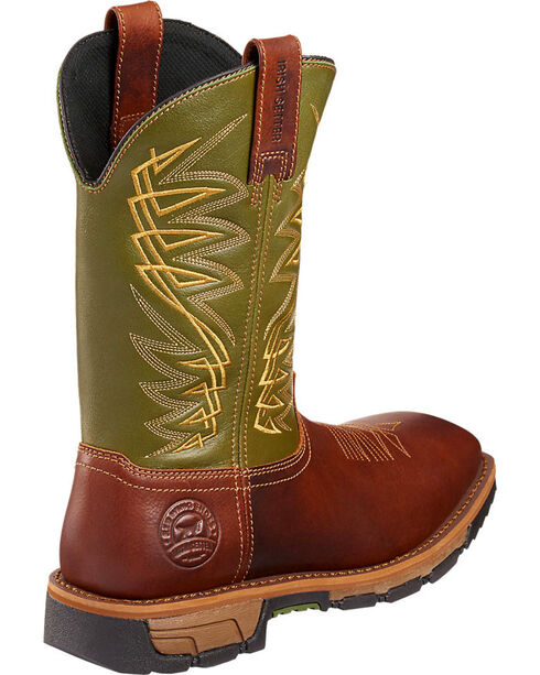 Red Wing Irish Setter Marshall Green and Brown Work Boots - Soft Square Toe  , Brown, hi-res
