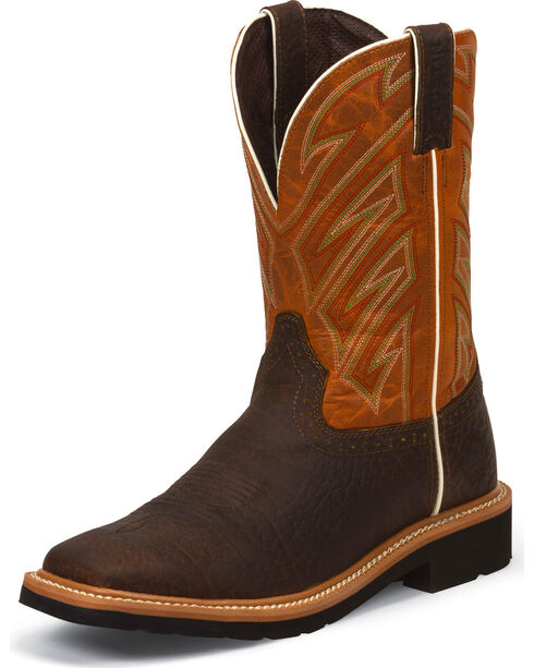 Justin Men's Square Toe Work Boots, Chestnut, hi-res