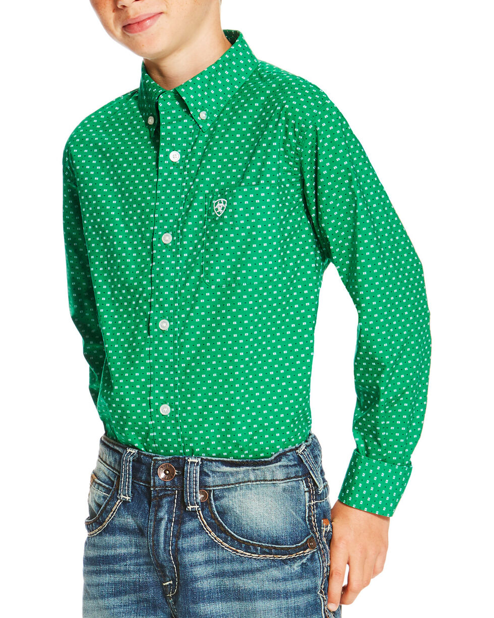 Ariat Boys' Dot Printed Long Sleeve Shirt, Green, hi-res