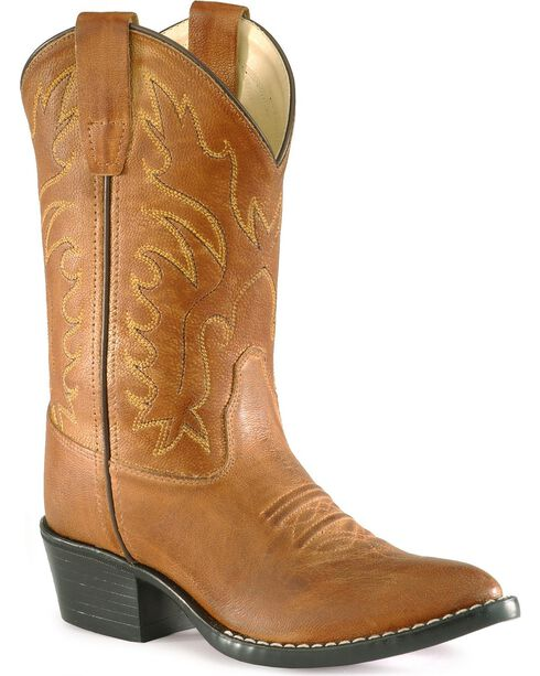 Old West Youth Boys' Calfskin Cowboy Boots - Pointed Toe, Tan, hi-res