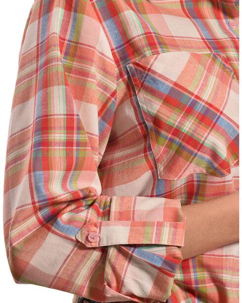 New Direction Sport Women's Pink Plaid Western Shirt, Plaid, hi-res