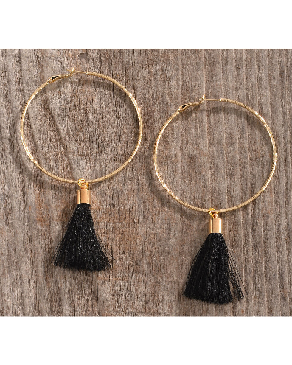 Gemelli Women's Gold Tassel Lela Hoop Earrings, Gold, hi-res