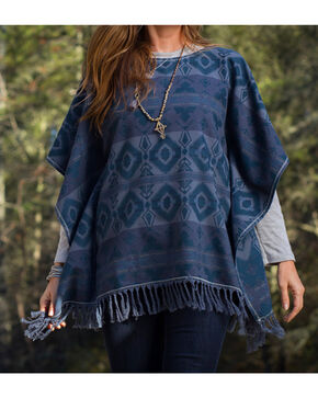 Ryan Michael Women's Blanket Poncho , Dark Blue, hi-res