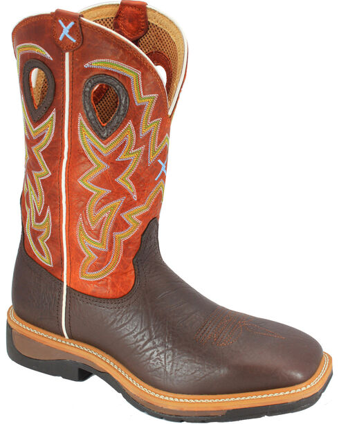 Twisted X Men's Lite Soft Square Toe Western Boots, Brown, hi-res