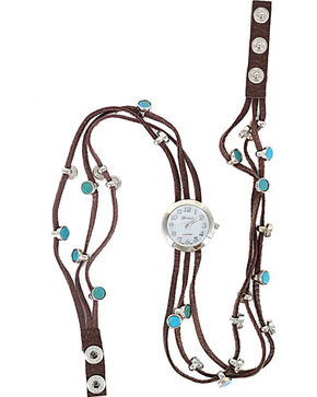 Shyanne® Women's Turquoise Beaded Wraparound Watch, Brown, hi-res