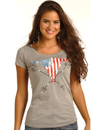 Rock & Roll Cowgirl Women's Grey Americana Steer Graphic Tee , , hi-res