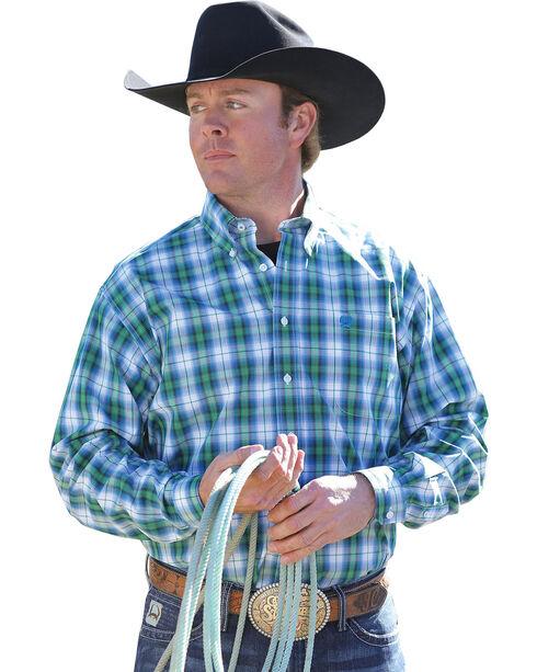 Cinch Men's Plaid Western Shirt, White, hi-res