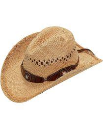 Blazin Roxx Scalloped Bedecked Croc Print Hat Band Raffia Straw Cowgirl Hat, , hi-res