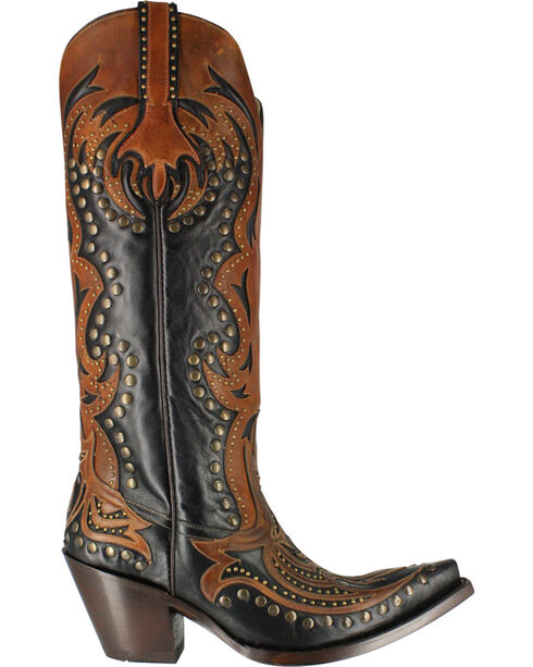 Corral Women's Tall Top Inlay and Stud Western Boots, Brown, hi-res