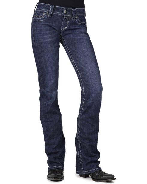 Stetson Women's 818 Dark Rinse Rhinestone Rear Flap Bootcut Jeans, Denim, hi-res