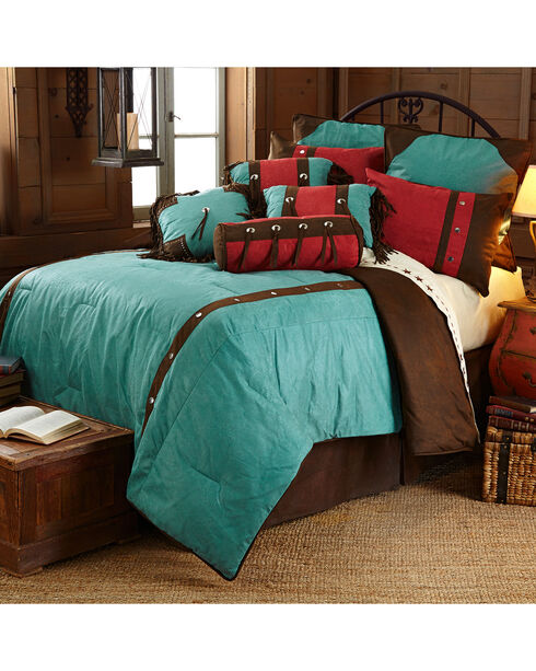 Cheyenne Floral Western Bed In A Bag Set - Twin Size, Turquoise, hi-res