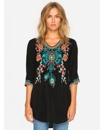 Johnny Was Women's Black Zivelly Tunic , , hi-res