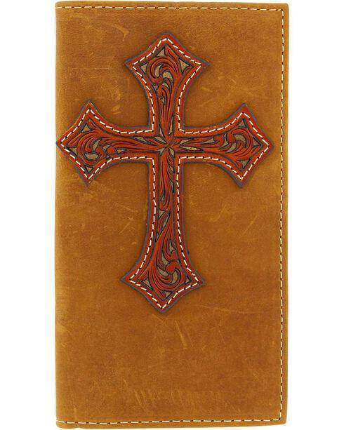 Nocona Men's Cross Rodeo Wallet and Checkbook Cover, Med Brown, hi-res