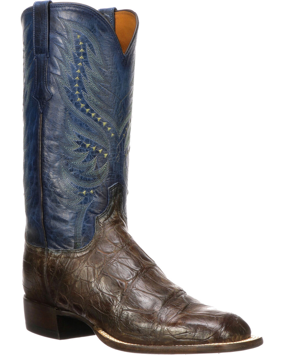 Lucchese Men's Handmade Troy Chocolate Giant Gator Western Boots - Square Toe, Chocolate, hi-res