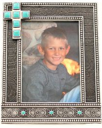 "Western Moments Black Studded Turquoise Cross Photo Frame - 5"" x 7"", , hi-res"