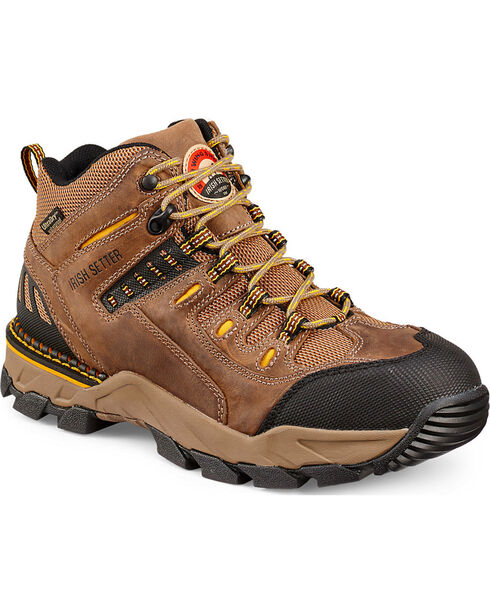 Red Wing Irish Setter Two Harbors Waterproof Hiker Work Boots - Aluminum Toe  , Brown, hi-res