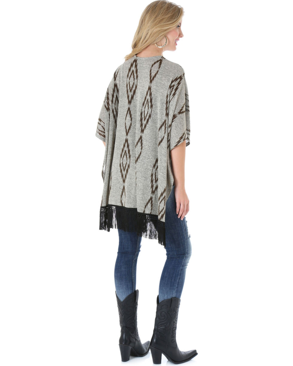 Rock 47 by Wrangler Women's Aztec Fringe Open Poncho, Oatmeal, hi-res