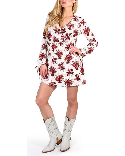 Luna Chix Women's Floral Long Sleeve Tie Dress, Multi, hi-res