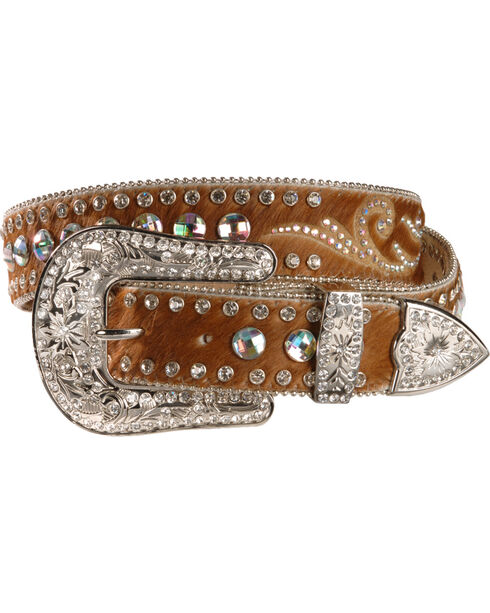 Nocona Hair On Embellished Leather Belt, Brown, hi-res