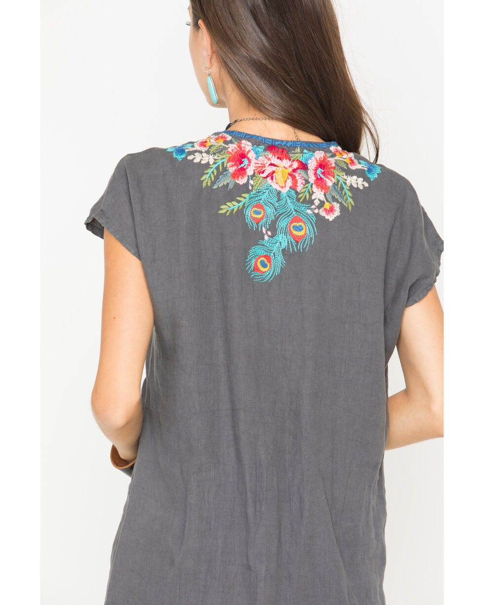 Johnny Was Women's Grey Vernazza Embroidered Tunic Dress , Grey, hi-res