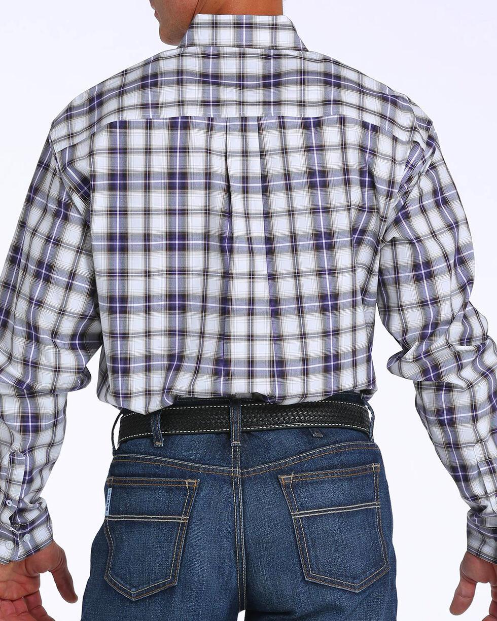 Cinch Men's Plain Weave Plaid Double Pocket Long Sleeve Shirt, White, hi-res