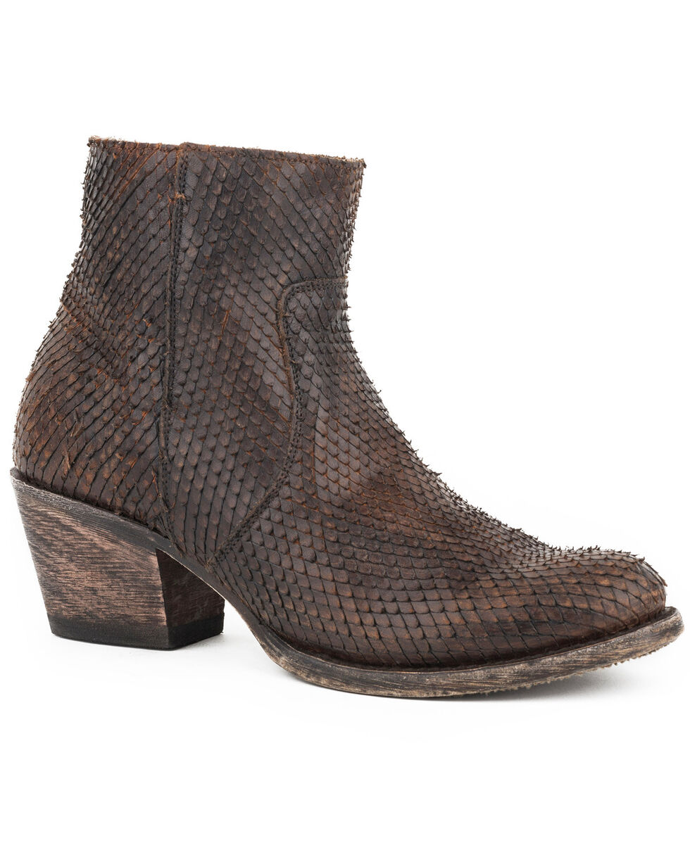 Stetson Women's Brown Dani Scaly Short Boots - Round Toe , Brown, hi-res