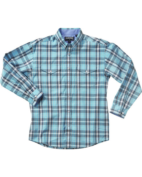 Panhandle Boys' Poplin Satin Plaid Shirt , Blue, hi-res