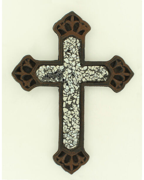 Western Moments Cast Iron Clear Glass Wall Cross, Brown, hi-res