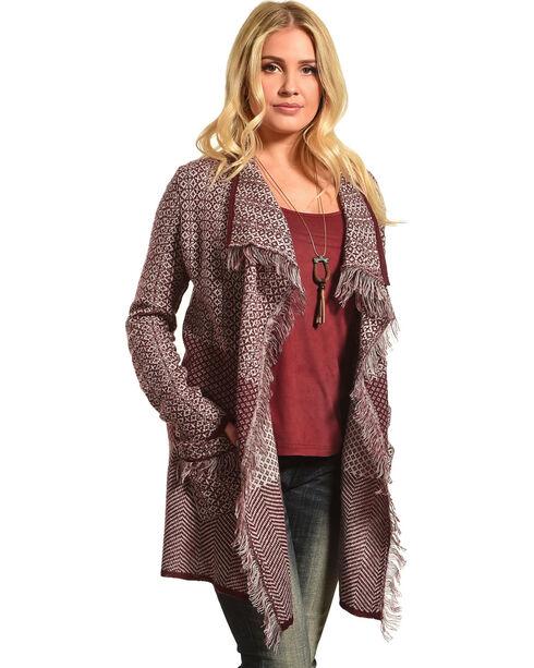 Allison Brittney Women's Shawl Collar Long Sleeve Cardigan, Wine, hi-res