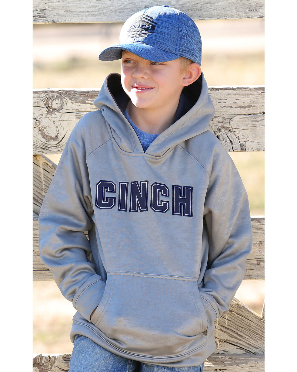 Cinch Boys' Poly Fleece Hoodie, Grey, hi-res