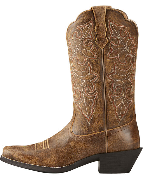 Ariat Women's Round Up Square Toe Western Boots, Lt Brown, hi-res