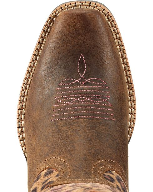 Ariat Girls' Legend Distressed Leopard Print Boots, Brown, hi-res