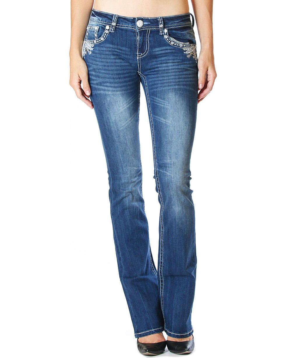 Grace in LA Women's Dark Blue Flap Pocket Jeans - Boot Cut , , hi-res