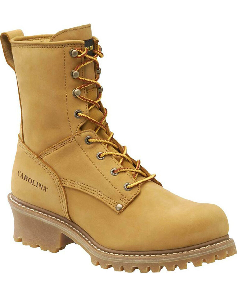 "Carolina Men's Logger 8"" Steel Toe Work Boots, Wheat, hi-res"