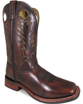 Smoky Mountain Men's Landry Brush Off Leather Cowboy Boots - Square Toe, Chocolate, hi-res