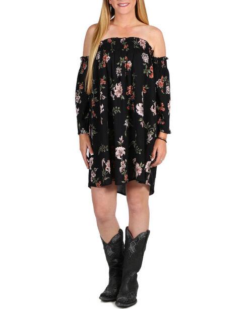 Angie Women's Floral Off The Shoulder Long Sleeve Dress , Black, hi-res