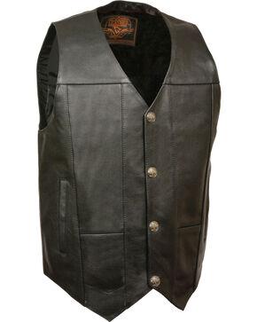 Milwaukee Leather Men's Buffalo Snap Plain Side Vest - 3X, Black, hi-res