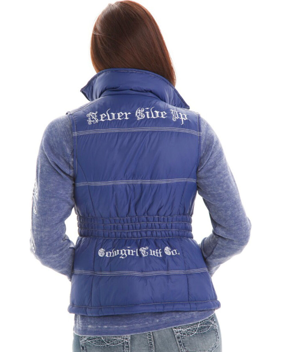 Cowgirl Tuff Women's White Embroidered Vest , Blue/white, hi-res