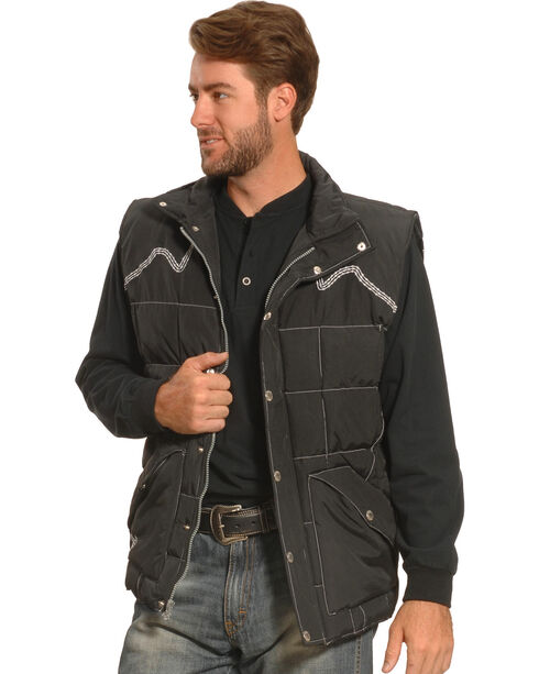 Cowboy Hardware Men's Barbed Wire Embroidered Vest, Black, hi-res