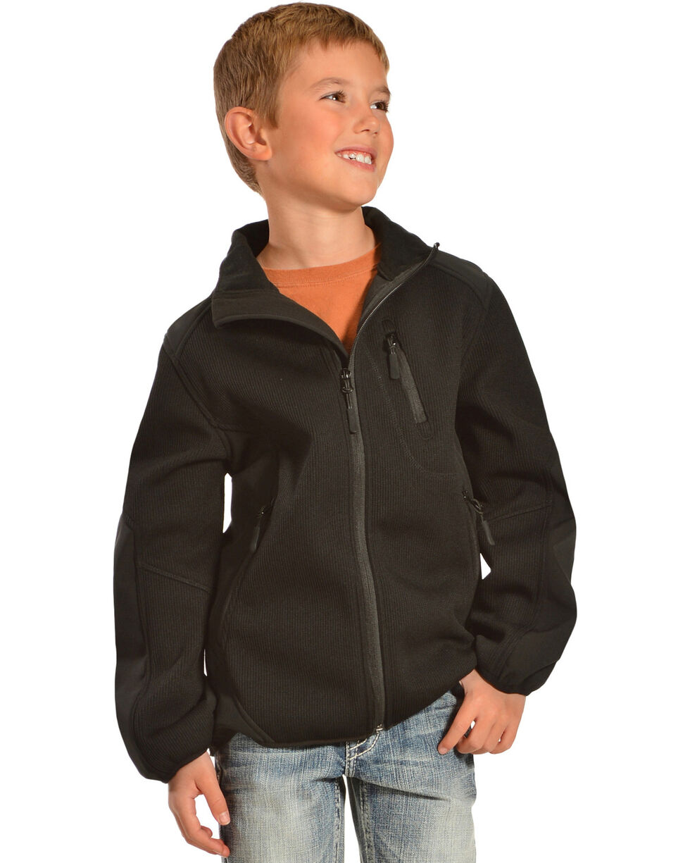 Red Ranch Boys' Black Bonded Jacket with Knit Inset, Black, hi-res
