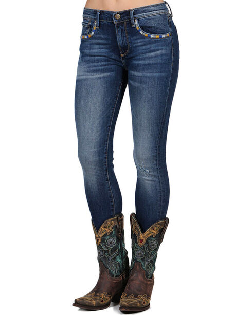 Drift Wood Women's Jackie Embroidered Skinny Jeans, Blue, hi-res