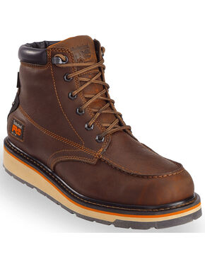 "Timberland PRO Men's Brown Gridworks 6"" Waterproof Boots - Moc Toe, Brown, hi-res"