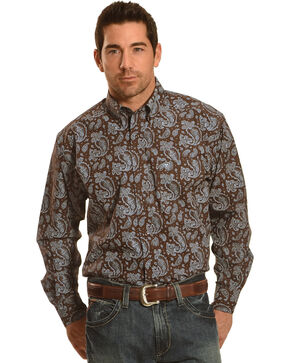 Ariat Men's Reeve Printed Long Sleeve Shirt, Brown, hi-res
