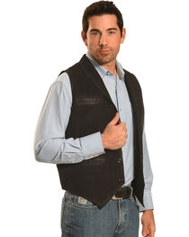 Ryan Michael Men's Black Leather Suede Vest , , hi-res